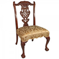Chinese Chippendale - 38 Inch Handcrafted Reproduction Fretback Dining Side   Accent Chair - Upholstery 010a - Mahogany Luxurie Furniture Finish M