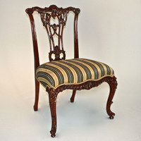 A Carved Rococo English Chippendale - 39 Inch Handcrafted Reproduction Open Back Dining Side   Accent Chair - Upholstery 045 - Mahogany Luxurie Furniture Finish M
