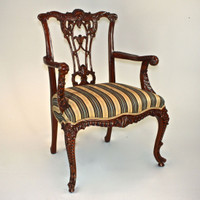 A Carved Rococo English Chippendale - 39 Inch Handcrafted Reproduction Open Back Dining | Accent Armchair - Upholstery 045 - Mahogany Luxurie Furniture Finish M