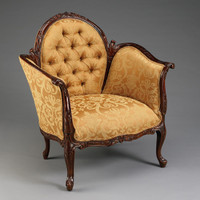 A Transitional French - Sophie 38 Inch Handcrafted Reproduction Versailles Salon Bergere | Arm Chair - Tufted Upholstery 010A - Mahogany Luxurie Furniture Finish M