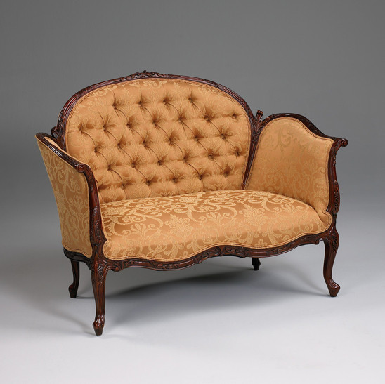 Superb A Transitional French Sophie 50 Inch Handcrafted Reproduction Small Versailles Canape Two Seater Sofa Tufted Upholstery 010A Mahogany Luxurie Ibusinesslaw Wood Chair Design Ideas Ibusinesslaworg