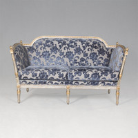 The Queen of France Marie Antoinette - French Neo Classical Period Louis XVI - 62.5 Inch Handcrafted Reproduction Versailles Small Sofa | Canape - Chenille Upholstery 075 - Metallic Luxurie Furniture Finish NF15