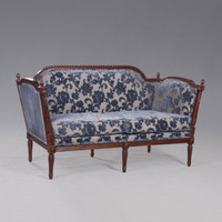 The Queen of France Marie Antoinette - French Neo Classical Period Louis XVI - 62.5 Inch Handcrafted Reproduction Versailles Sofa | Canape - Chenille Upholstery 075 and Velvet 076 - Distressed Walnut Luxurie Furniture Finish NWND