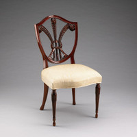 A Georgian English Hepplewhite   Sheraton Prince of Wales - 29 Inch Handcrafted Reproduction Shield Back Dining   Accent Side Chair - Damask Upholstery 040 - Mahogany Luxurie Furniture Finish M
