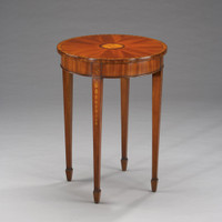A Georgian English Hepplewhite Period - 26 Inch Handcrafted Reproduction Mahogany and Satinwood Side | End | Round Lamp Table - Wood Luxurie Furniture Finish MLSC