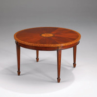 A Georgian English Hepplewhite Period - 31 Inch Handcrafted Reproduction Mahogany and Satinwood Cocktail | Round Coffee Table - Wood Luxurie Furniture Finish MLSC
