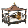 A Fine Pagoda Pet Bed, Hardwood and Rattan   Painted Black Gold Accents, GEBN, 27L x 21d x 26t