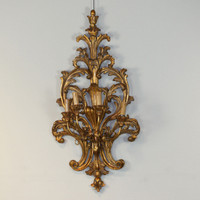 An Acanthus Wooden Ornamental 4 light - 38 Inch Handcrafted Reproduction Wall Bracket Sconce - Metallic Luxurie Furniture Finish NF9