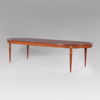 A Louis Seize French Neo Classical Period Louis XVI - 80 to 120 Inch Handcrafted Reproduction Versailles Oval Dining Table - Wood Luxurie Furniture Finish MLSP and Gold NF11