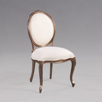 A Transitional Oval Back - 37.25 Inch Handcrafted Reproduction French Dining   Accent Side Chair - Velvet Upholstery 053 - Metallic Luxurie Furniture Finish NF7