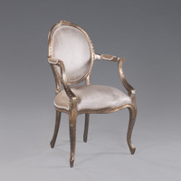 A Transitional Oval Back - 36.5 Inch Handcrafted Reproduction French Dining | Accent Arm Chair | Fauteuil - Velvet Upholstery 053 - Metallic Luxurie Furniture Finish NF15