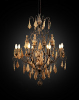 A Beautiful French Country Baroque Wrought Iron Chandelier   43L x 32dia. Handcrafted Reproduction   Provincial Wooden Accent Finials and Pendants