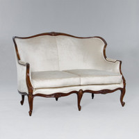 A Du Barry Louis XV - 59.5 Inch Handcrafted Reproduction Small French Sofa | Settee - Velvet Upholstery 053 - Walnut Luxurie Furniture Finish NWN