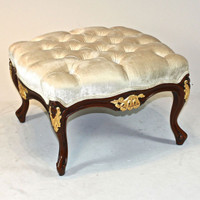 The Queen of Versailles Marie Leszezynska - Louis XV French Rococo Period - 23.6 Inch Handcrafted Reproduction Foot Stool - Wood Tone Luxurie Furniture Finish Gilt MLSC and Tufted Off White Velvet Upholstery 053