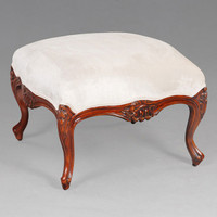 The Queen of Versailles Marie Leszezynska - Louis XV French Rococo Period - 23.6 Inch Handcrafted Reproduction Foot Stool - Wood Tone Luxurie Furniture Finish NWN and Upholstery 053c