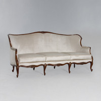 A Du Barry Louis XV - 86 Inch Handcrafted Reproduction French Sofa | Canape - Velvet Upholstery 053 - Walnut Luxurie Furniture Finish NWN