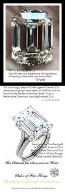 14.22 Benzgem by GuyDesign®, G-H-I-J, Color, 14.22 Carat Krupp Cut-Emerald Shape, Best Alternative Diamond with H&A Mined Diamond Semi-Mount, Louis XIV Baroque Scroll Solitaire Ring, 18 Karat White Gold, 6599 Engagement Ring