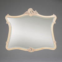 "The Queen of Versailles Marie Leszezynska - French Rococo Period Louis XV - 57.5"" Handcrafted Reproduction Bevel Glass Dresser Mirror - Painted White Luxurie Furniture Finish PWH, 6433"