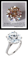 12.56 Benzgem by GuyDesign®, Luxury, Diamond Quality 12.56 Carat Hearts & Arrows, Ideal Cut, Alternative Solitaire, Mined diamond Semi-Mount, Louis XIV Baroque Scroll, Bespoke 14 karat Engagement Ring, 6604