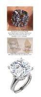 14.99ct. Benzgem by GuyDesign® G-H-I-J, World's Most Perfect artificial Diamond, ersatz Diamond, Luxurious 12.89 Carat Cushion Shape, Fantasy Diamond with Natural Diamond Semi-Mount, Louis XIV Baroque Scroll Ring, 18 Karat White Gold, 6612 Engagement