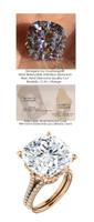 14.99ct. Benzgem by GuyDesign® World's Most Perfect artificial Diamond, ersatz Diamond, G-H-I-J Color 12.89 Carat Cushion Cut, Fantasy Diamond with Natural Diamond Semi-Mount, Louis XIV Baroque Scroll Solitaire Ring, 18K Rose Gold, 6623 Engagement Ri