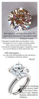 6.84 Benzgem by GuyDesign® Luxury 06.84 Carat Hearts and Arrows, Ideal Fantasy Diamond with Natural Diamond Semi-Mount, Near Colorless, White, Faintest Yellow Tint, G-H-I-J, Best Faux Diamond, Contemporary Elegance Engagement Ring, Platinum, 6633