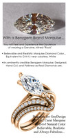 1.59 Benzgem by GuyDesign® Luxury 01.62 Carat Marquise Shape Simulated Diamond Natural Diamond Semi-Mount, White, Faintest Yellow Tint, G-H-I-J, Best Artificial Diamond, Classic Bypass Solitaire Engagement Ring, 18 Karat Rose Gold, 6641