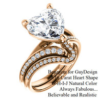 Benzgem for GuyDesign® Luxury 03.16 Carat Heart Shape Fantasy Diamond Natural Diamond Semi-Mount, White, Faintest Yellow Tint, G-H-I-J, Best Artificial Diamond, Classic Bypass Solitaire Engagement Ring, 18 Karat Rose Gold, 6643