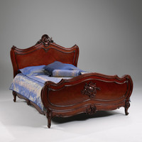 The Queen of Versailles Marie Leszezynska - Louis XV French Rococo Period - 88 Inch Handcrafted Reproduction Queen Bed - Wood Tone Luxurie Furniture Finish M