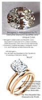 2.66 Ct. Hand Cut Oval Shape Benzgem: Best G-H-I-J Diamond Quality Color Imitation; GuyDesign® Classic Tiffany Solitaire Engagement Ring: Two-Tone 18 Karat Rose & White Gold Fine Gold Custom Jewelry - 6669