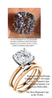 3.50 Benzgem by GuyDesign® G-H-I-J Natural Color, Most Believable fake Diamond in the World, Luxurious 03.5 Carat Cushion Shape Dream Diamond, Classic Tiffany Solitaire Engagement Ring, 18 Karat Rose & White Gold, 6680