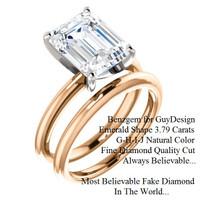 3.95 Benzgem by GuyDesign® G-H-I-J Natural Color, Most Believable fake Diamond in the World, Luxurious 03.79 Carat Emerald Cut Dream Diamond, Classic Tiffany Solitaire Ring, 18 Karat Rose & White Gold, 6682