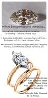 1.59 Benzgem by GuyDesign®, Most Believable fake Diamond in the World, 01.62 Carat Marquise Cut Dream Diamond, Classic Tiffany Solitaire Ring, 18 Karat Rose & White Gold, 6684