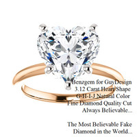 3.12 Benzgem by GuyDesign®, Most Believable fake Diamond in the World, 03.12 Carat Heart Shape Fantasy Diamond, Classic Tiffany Solitaire Ring, 18 Karat Rose & White Gold, 6685