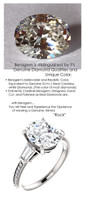 3.00 Benzgem by GuyDesign®, Most Believable fake Diamond in the World, 3 Carat Oval Cut-Shape Fantasy Diamond, VS Clarity, Twin Baguette and Round Accent Solitaire Ring, Platinum, 6687