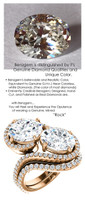 5.32 Benzgem by GuyDesign® Oval Shape Fantasy Diamond, Diamond White, Faintest Cream Tint, G-H-I-J Color, Most Believable Fake Diamond, Natural G-H Color SI1 Clarity Diamond Semi-Mount, Bypass délegance Double Solitaire Ring, 18K Rose Gold, 6689