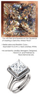 Halo Engagement Rings, Princess Cut Engagement Rings, Diamond Semi-Mount, Platinum, Simulated Diamond, Natural Diamond, Wedding Sets, 6694