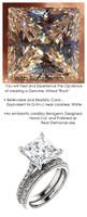 3.81 Benzgem by GuyDesign® 3.81 Carat Quadrillion Princess Fantasy Diamond, Diamond White, Cream Tint, G-H-I-J Color, Most Believable Fake Diamond, Unnamed Collection Solitaire Ring, Platinum, 6697