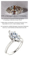 1.59 Benzgem by GuyDesign®, 01.58 Carat Marquise Shape Jewelry Sample, Size 7, Tarnish Resistant Silver 6706-123213