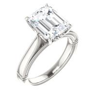 3.95 Benzgem by GuyDesign® 03.95 Carat Emerald Shape Jewelry Sample, Size 7, Tarnish Resistant Silver 6709