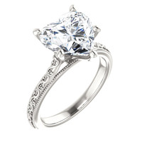 2.71 Benzgem by GuyDesign® 02.71 Carat Heart Shape Jewelry Sample, Size 7, Tarnish Resistant Silver, 6711-123063