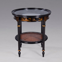 A Chinoiserie Chinese Style - 20.5 Inch Handcrafted Handpainted End | Side | Lamp Table - Luxurie Furniture Finish Ebony Black EBN with Gold Trim