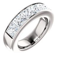 5.85 GuyDesign® 5x1.17ct= 05.85 Carat Quadrillion, Princess Cut, Important Diamond Men's Channel Set Platinum Band Ring 6726, G-H-I Color VS Clarity 5.85 Carat Diamonds