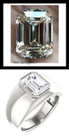 3.95 Benzgem by GuyDesign®, 03.95 Carat Emerald Shape Men's Jewelry Sample, size 11, Tarnish Resistant Silver 6730-2979