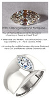 1.59 Benzgem by GuyDesign®, 01.59 Carat Marquise Shape Men's Jewelry Sample, size 11, Tarnish Resistant Silver 6733-2979