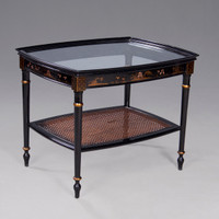 A Chinoiserie Chinese Style - 27 Inch Handcrafted Handpainted Cocktail | Coffee Table - Luxurie Furniture Finish Ebony Black EBN with Gold Trim