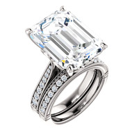 Emerald Cut Engagement Rings, White Gold, Wedding Rings, Simulated Diamond, Diamonds, Wedding Sets, 6786