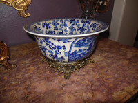 A Blue and White Pagoda, Floral with Gilded Brass Ormolu - Luxury Handmade Reproduction Chinese Porcelain - Statement 10dia x 6t Deco Bowl Style 39