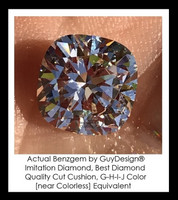 Benzgem by GuyDesign® Most Believable and Realistic 3.21 Ct. Cushion Cut... Designed, Hand Cut, and Polished as Real Diamonds are...