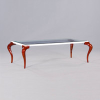A Modern Louis Contemporary French Rococo Style - 60 Inch Handcrafted Cocktail   Coffee Table - Bevel Glass - Wood Tone Luxurie Furniture Finish M and White